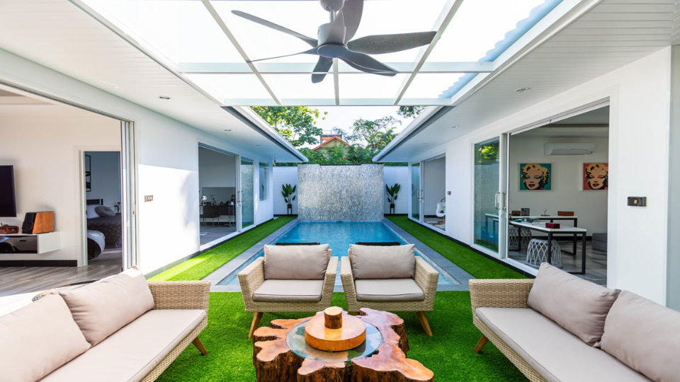 Outdoor Sitting Area Pool - One-Story Pool Villa Rawai 4 beds 4 baths